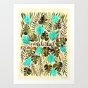 Tropical Wanderlust – Turquoise & Olive Art Print