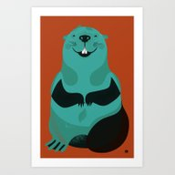 Art Print featuring Beaver by The Little Friends O…