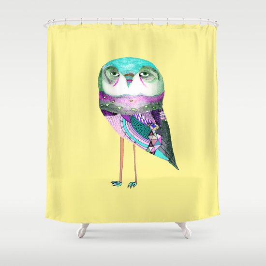 Owl Print Shower Curtain By Ashley Percival Illustration