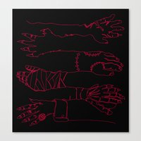 Classic Horror Hands (Red Line on Black) Canvas Print