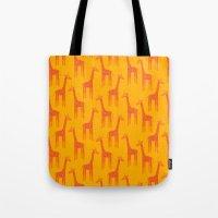 Giraffes-Orange Tote Bag
