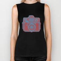 I Still Shoot Film Holga Logo - Blue & Red Biker Tank