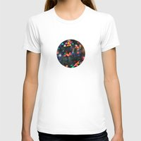 Valentine Love Heart Bokeh circle print Womens Fitted Tee White SMALL