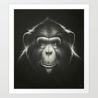 Art Print featuring Monkee with Tooth by Dr. Lukas Brezak