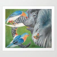 1.Elephant fantasy (blue) Art Print