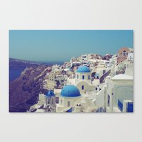 Blue Domes II, Oia, Santorini, Greece Canvas Print