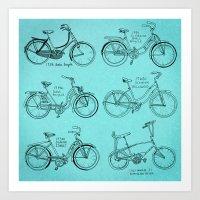 Vintage Ladies Bicycles Art Print
