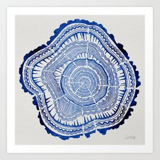 Growth Rings – 65 Years – Navy Art Print