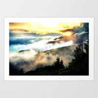 mountains Art Prints featuring Sunrise mountains by 2sweet4words Designs
