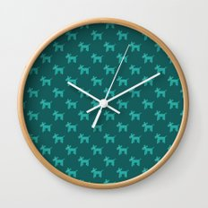 Dogs-Teal Wall Clock