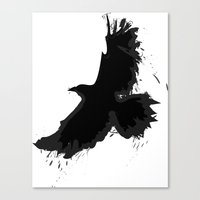 Splatter Crow Canvas Print