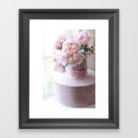 Shabby Chic Cottage Pink Impressionistic Peonies in Vintage Sugar Bucket Framed Art Print