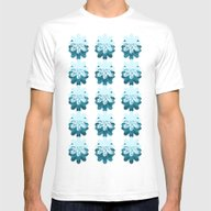 Blue Petal Pattern Mens Fitted Tee White SMALL