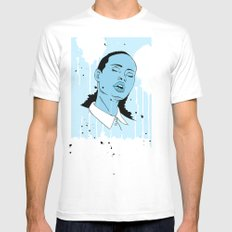 Woman in Blue Mens Fitted Tee SMALL White