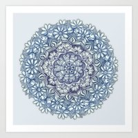 Indigo Medallion With Bu… Art Print