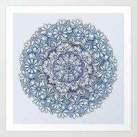 Indigo Medallion With Bu… Art Print