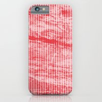Grunge red and white stripes texture iPhone 6 Slim Case