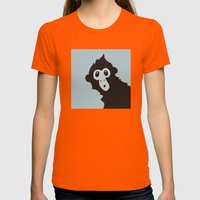 Spider Monkey - Peekaboo… Womens Fitted Tee Orange SMALL