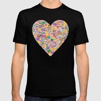 emoji / emoticons Mens Fitted Tee Black SMALL