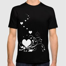 White Valentine Hearts On Red Background SMALL Black Mens Fitted Tee