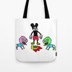 mickey mouse killed bart simpson and tommy pickles ate him Tote Bag