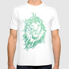 Green Lion White Mens Fitted Tee SMALL
