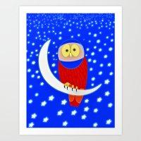 Owl lands on the moon Art Print