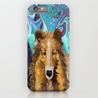 iPhone Cases featuring The Inquisitive Collie of the Psychedelic Dog Parade by Distortion Art