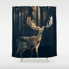 Deer in the dark forest Shower Curtain