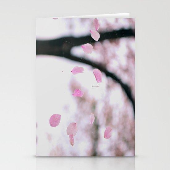 "Cherry Blossom Petals ~ ""Web of Pink Petals"" Stationery Card"