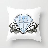 Diamond and skulls Throw Pillow