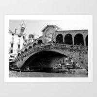 Rialto bridge in black and white Art Print