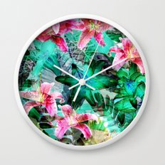 Jungle Lilies Wall Clock