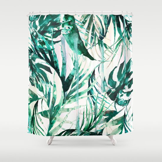 Green Tropical Paradise Shower Curtain By Nikkistrange