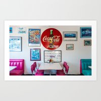 Diner Route 66 Art Print