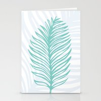 Palm Leaf in Blue and Green Stationery Cards