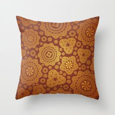 Warm Gold Paisley Pattern Throw Pillow