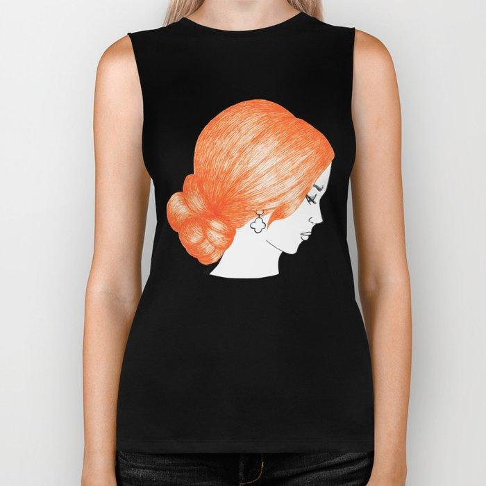orange hair fashion illustration drawing biker tank black society6