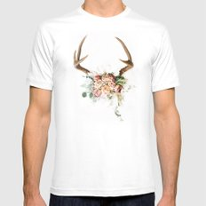 Floral Antlers V SMALL White Mens Fitted Tee