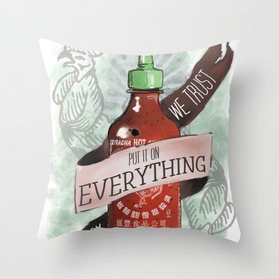 An Ode To Sriracha Throw Pillow