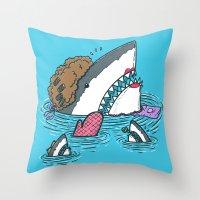 The Mom Shark Throw Pillow