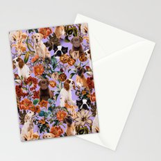 Dog and Floral Pattern Stationery Cards