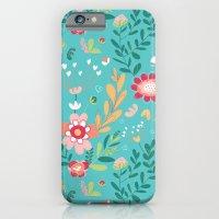 Teal Garden Hearts iPhone 6 Slim Case