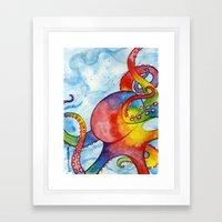 Rainbow Octopus Framed Art Print
