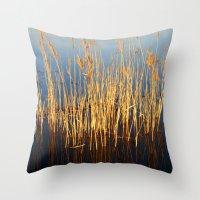 Water Reeds Throw Pillow