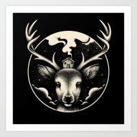 Art Prints featuring Deer Home by Enkel Dika