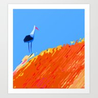 Stork On Thatched Roof Art Print