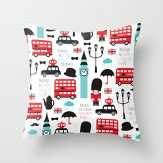 London icons illustration pattern print Throw Pillow