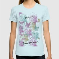 Joy Rises from the Soul Womens Fitted Tee Light Blue SMALL