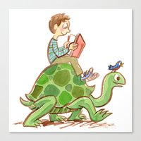 The Tortoise-Riding Reader Canvas Print